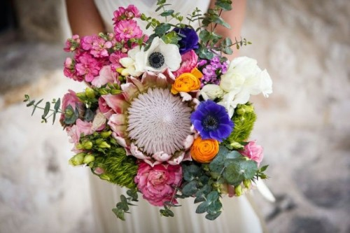 Fresh And Whimsy Pincushion Protea Wedding Bouquets