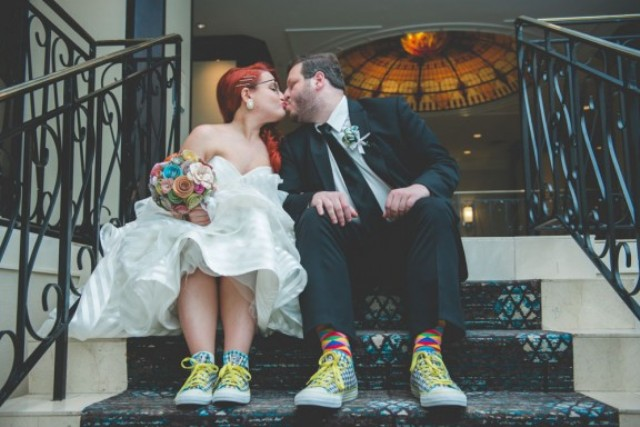 Picture Of fun and colorful sock puppet wedding  1