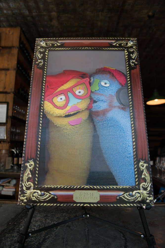 Picture Of fun and colorful sock puppet wedding  13