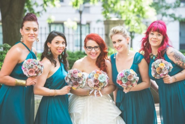 Picture Of fun and colorful sock puppet wedding  2