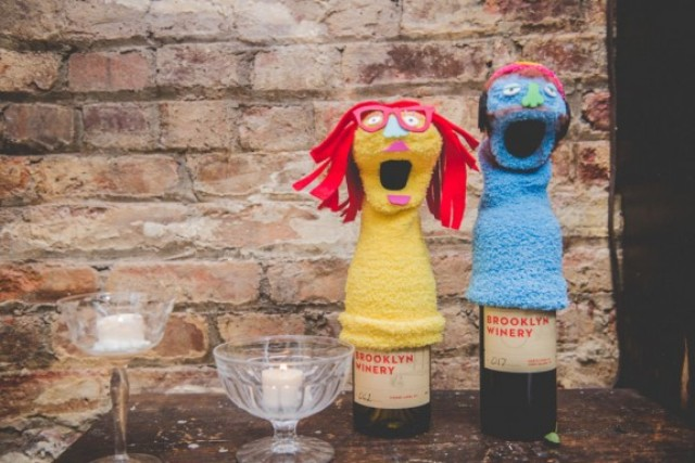 Picture Of fun and colorful sock puppet wedding  4