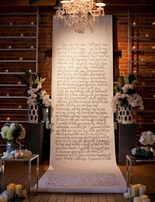 a handwriting backdrop with your favorite quotes or texts is a very chic and cool idea