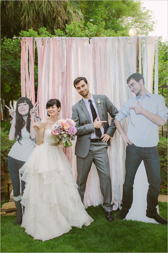 pastel ribbons and fabric strips will make up a simple and cool backdrop for posing and taking pics
