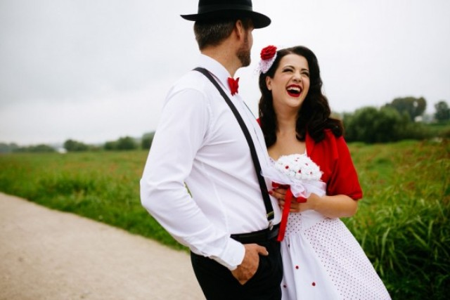 Picture Of fun pin up polka dot wedding in croatia  1