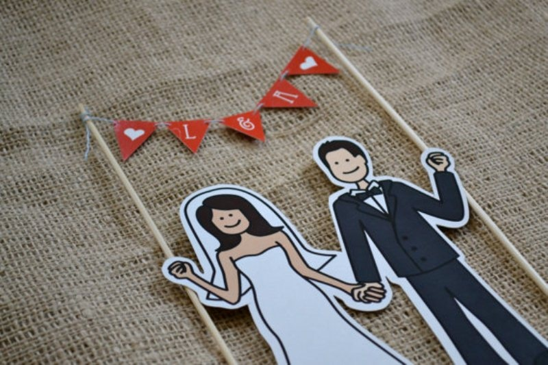 Funny Illustrated Wedding Cake Topper