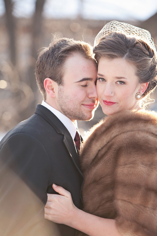an elegant brown faux fur wrap is ideal for a vintage or art deco inspired bridal look and is all cool and chic