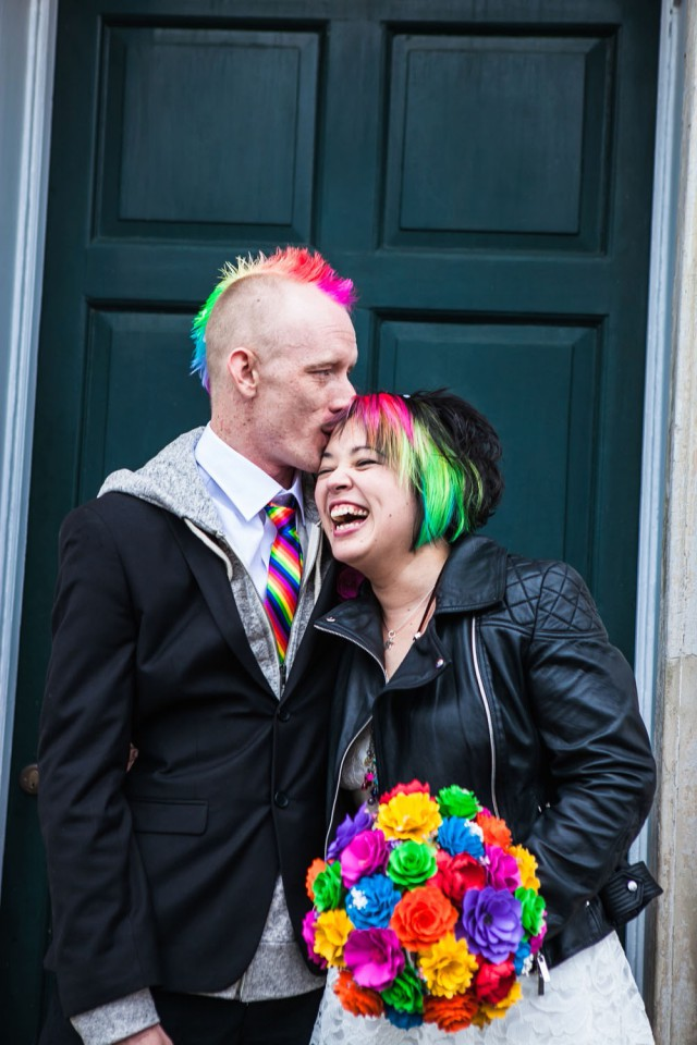 Picture Of geeky rainbow punk rock tea party wedding  1