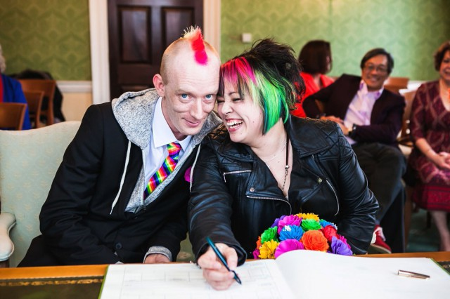 Picture Of geeky rainbow punk rock tea party wedding  2