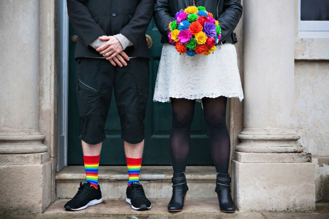 Picture Of geeky rainbow punk rock tea party wedding  3