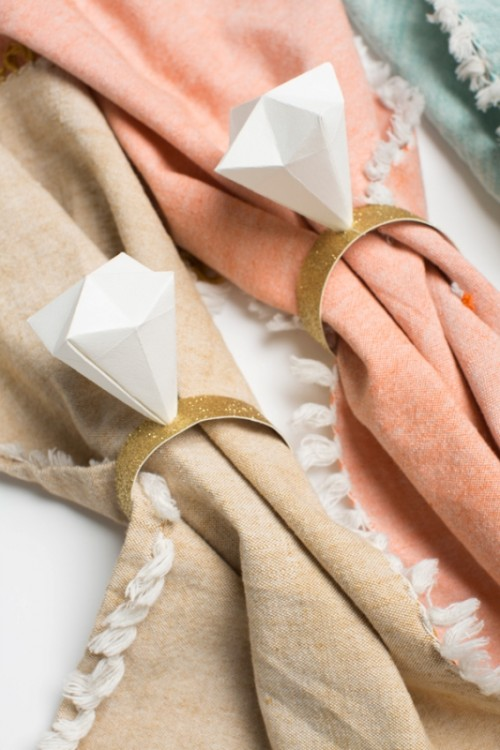 Glam And Cool Diy Origami Diamond Napkin Ring