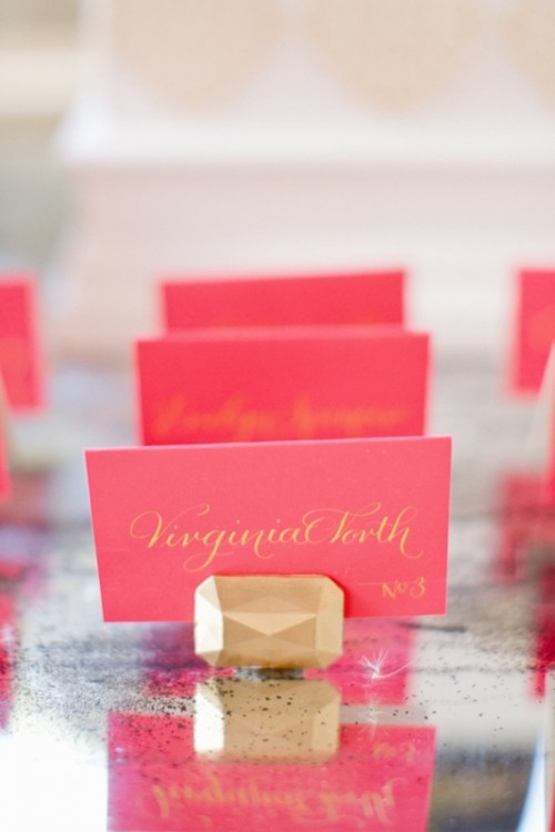 Glam DIY Gem Escort Card Holders For A Modern Wedding