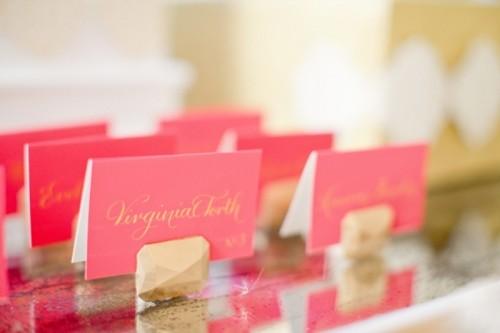 Glam Diy Gem Escort Card Holders For A Modern Wedding