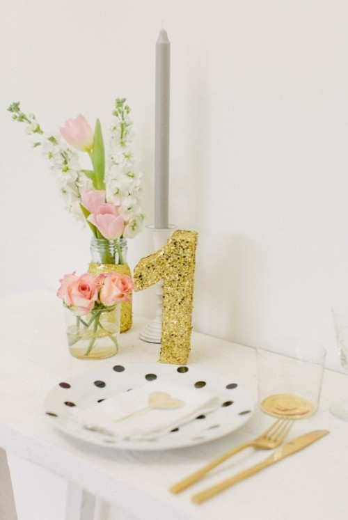 Glam Diy Gold Glittery Wedding Table Number