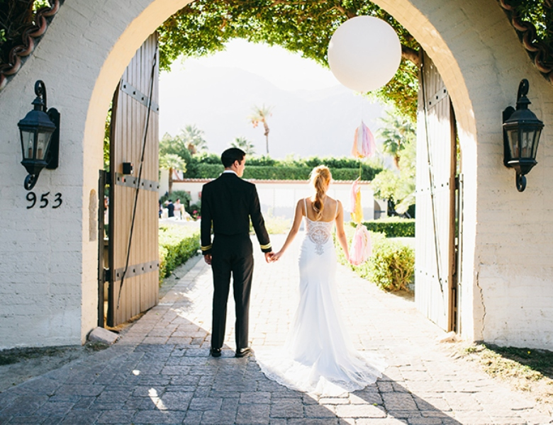 Picture Of glamorous and vivid pink palm springs wedding  11