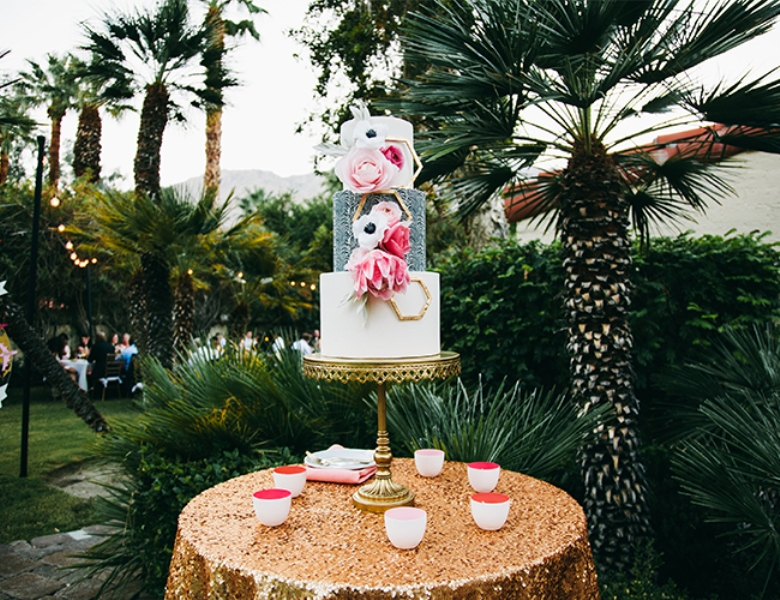 Picture Of glamorous and vivid pink palm springs wedding  15