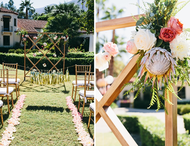 Picture Of glamorous and vivid pink palm springs wedding  6