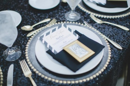 Glamorous Black And White With Pops Of Gold Wedding Inspiration