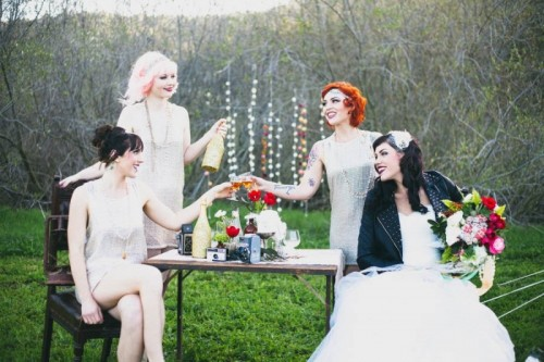 Glamorous Little Adventure: Unique Outdoor Bridal Party