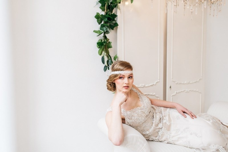 Picture Of glamorous pastel wedding inspiration with a hint of retro  7