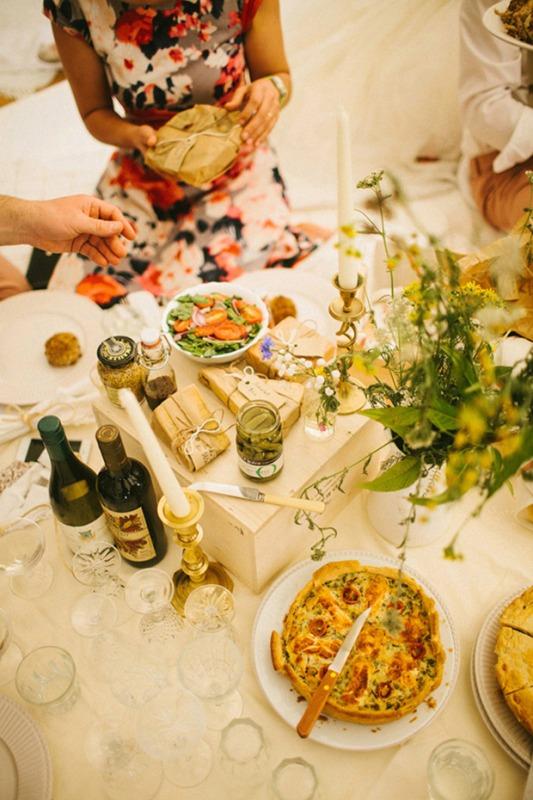 Glamorous Retro Picnic Wedding Party