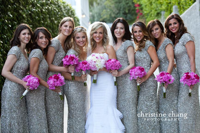 silver sparkly bridesmaids dresses