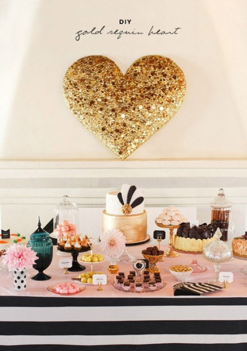 Gold DIY Sequin Heart As Your Glamour Wedding Decor Piece