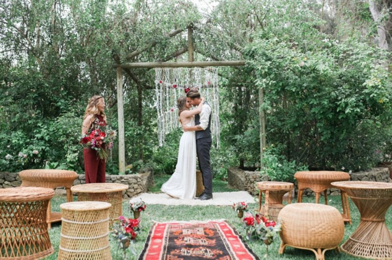 Picture Of gorgeous 1970s bohemian wedding inspiration in marsala tones  10