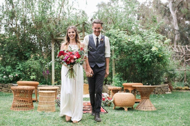 Picture Of gorgeous 1970s bohemian wedding inspiration in marsala tones  11
