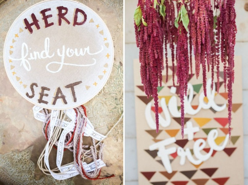 Picture Of gorgeous 1970s bohemian wedding inspiration in marsala tones  12