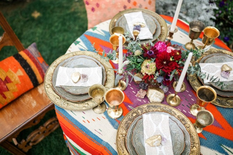 Picture Of gorgeous 1970s bohemian wedding inspiration in marsala tones  15