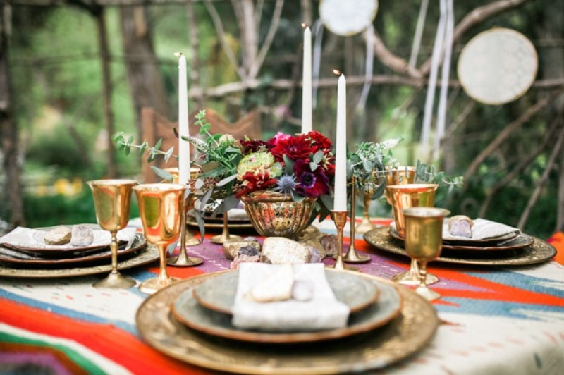 Picture Of gorgeous 1970s bohemian wedding inspiration in marsala tones  16