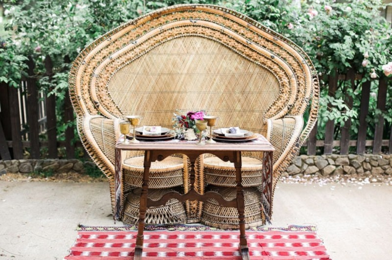 Picture Of gorgeous 1970s bohemian wedding inspiration in marsala tones  18