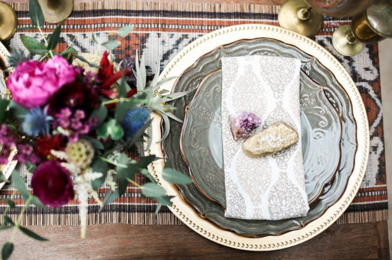 Picture Of gorgeous 1970s bohemian wedding inspiration in marsala tones  19
