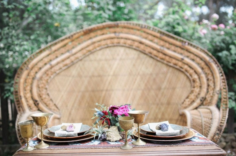 Picture Of gorgeous 1970s bohemian wedding inspiration in marsala tones  20