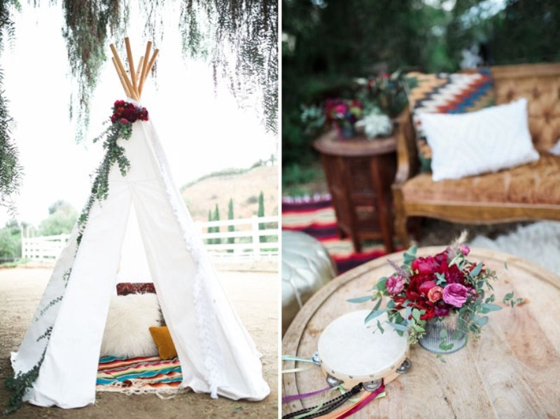 Picture Of gorgeous 1970s bohemian wedding inspiration in marsala tones  22