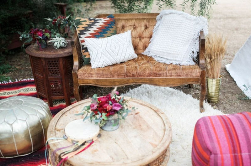 Picture Of gorgeous 1970s bohemian wedding inspiration in marsala tones  23