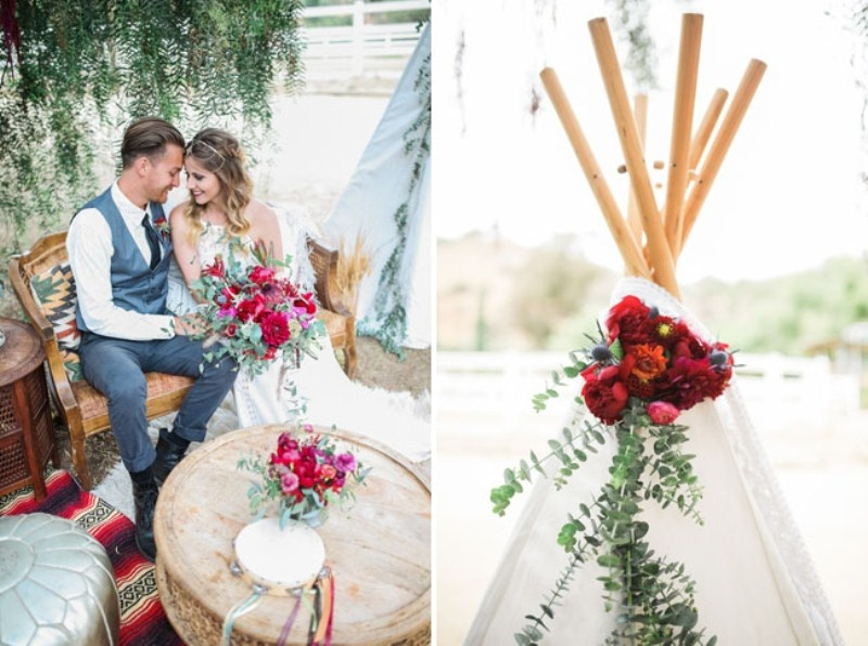 Picture Of gorgeous 1970s bohemian wedding inspiration in marsala tones  25