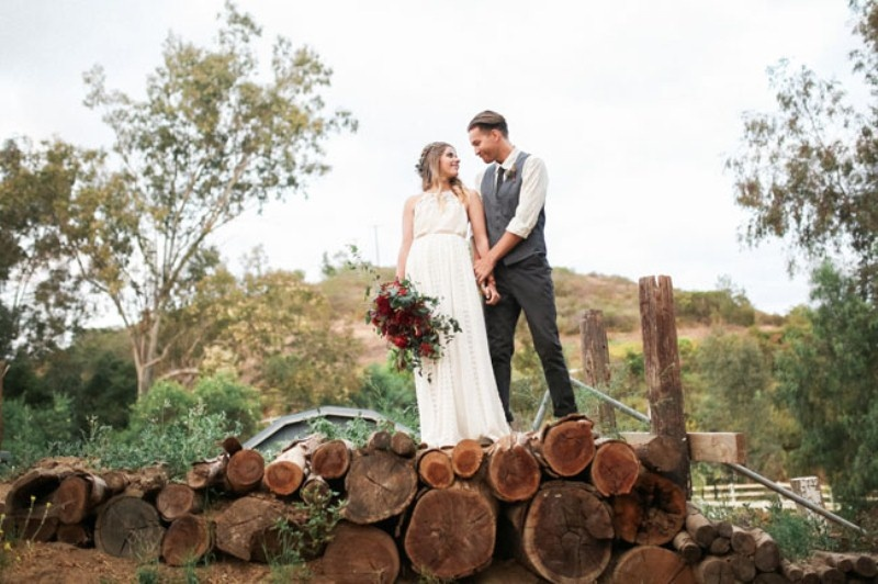 Picture Of gorgeous 1970s bohemian wedding inspiration in marsala tones  27