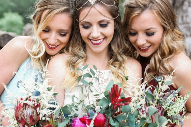 Picture Of gorgeous 1970s bohemian wedding inspiration in marsala tones  28