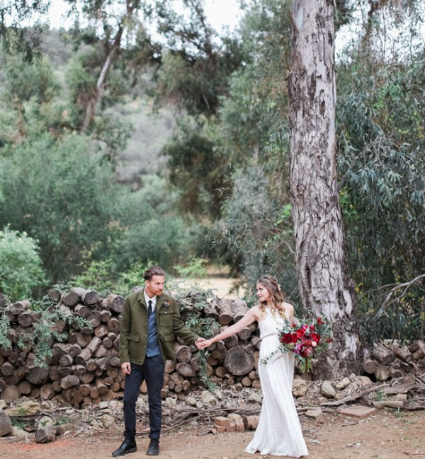 Picture Of gorgeous 1970s bohemian wedding inspiration in marsala tones  3