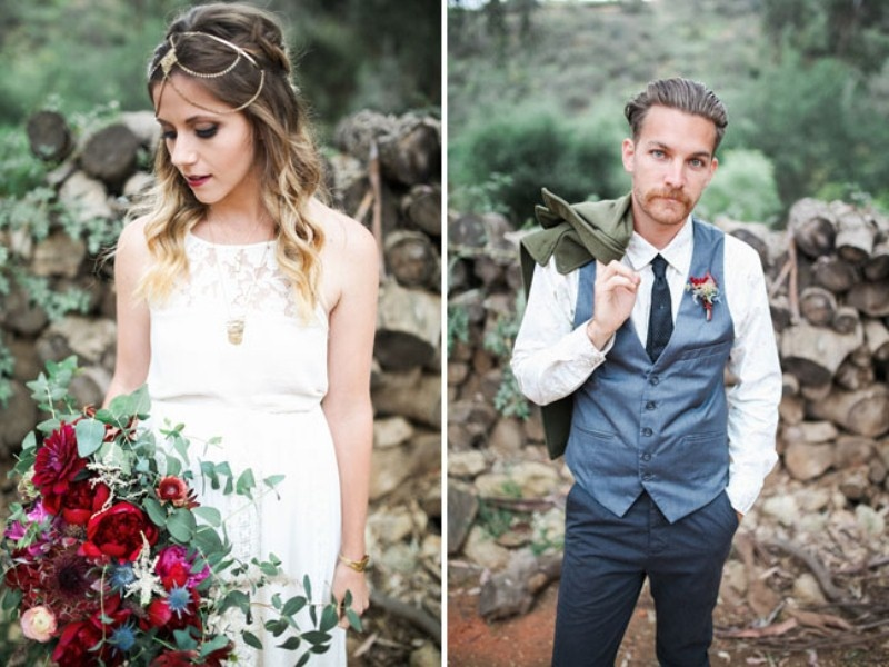 Picture Of gorgeous 1970s bohemian wedding inspiration in marsala tones  5