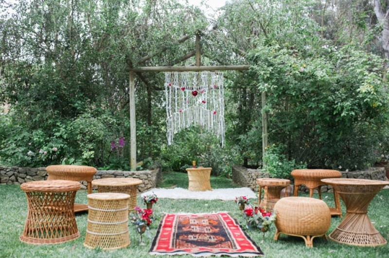 Picture Of gorgeous 1970s bohemian wedding inspiration in marsala tones  7