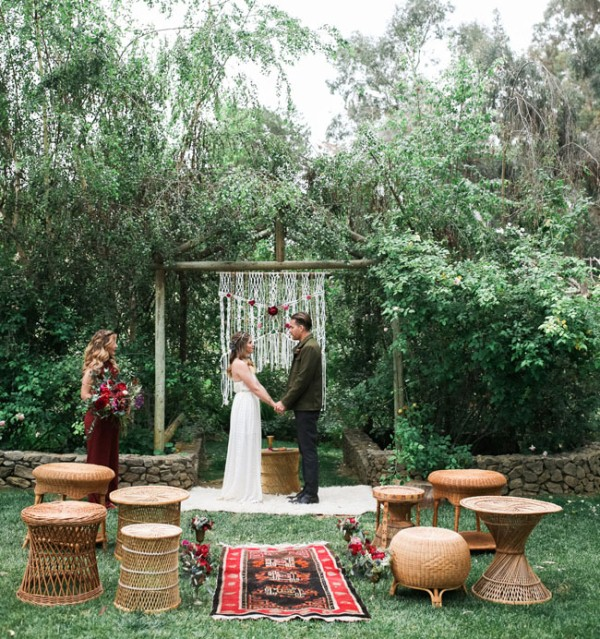 Picture Of gorgeous 1970s bohemian wedding inspiration in marsala tones  9