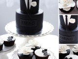 a black and white wedding cake imitating a tuxedo and matching cupcakes for a stylish gay wedding