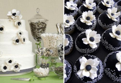 a white textural wedding cake decorated with sugar anemones and cupcakes topped with the same to match