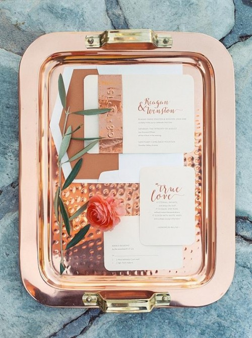 Gorgeous Copper And Coral Outdoor Wedding Inspiration