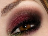 burgundy smokey eyes are amazing for decadent and bold fall or winter bridal look