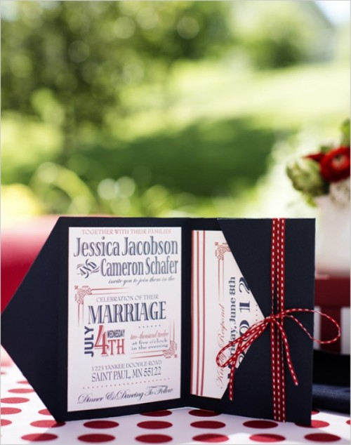 a bold wedding invitation suite in white, navy and red is a fantastic idea for a fall or winter wedding