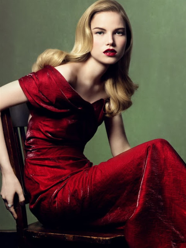 a statement deep red off the shoulder wedding dress is a cool idea for daring brides who love bold colors