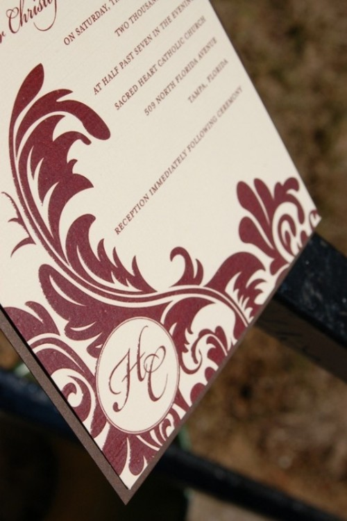 a wedding invitation in white and burgundy plus patterns is a chic and bright idea for the fall